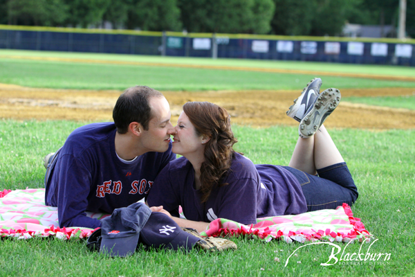 Saratoga Softball Themed Engagement Photo