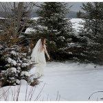Bride Winter Destination Wedding Photo Lake Placid NY