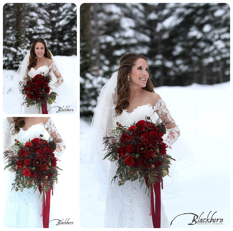 Whiteface Lodge Bridal Portraits in the snow.