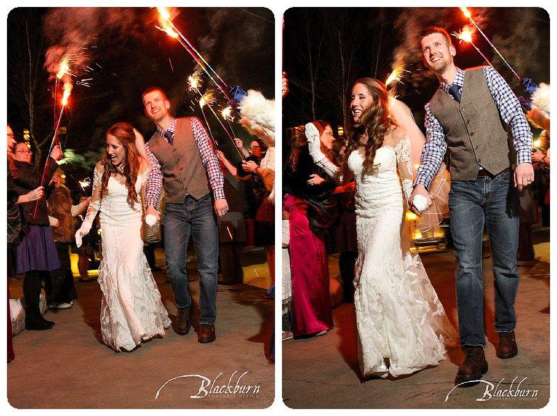 Winter Wedding Sparkler Send Off Lake Placid NY