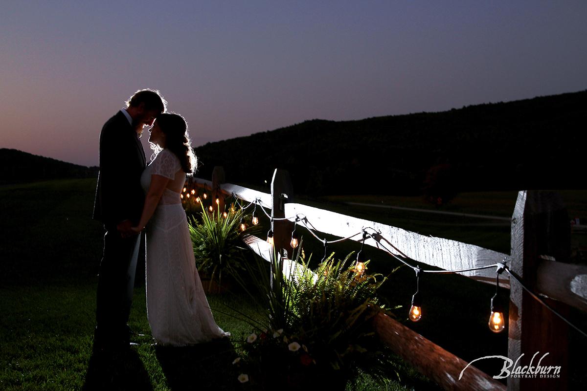 Rustic Barn Wedding Night Photo