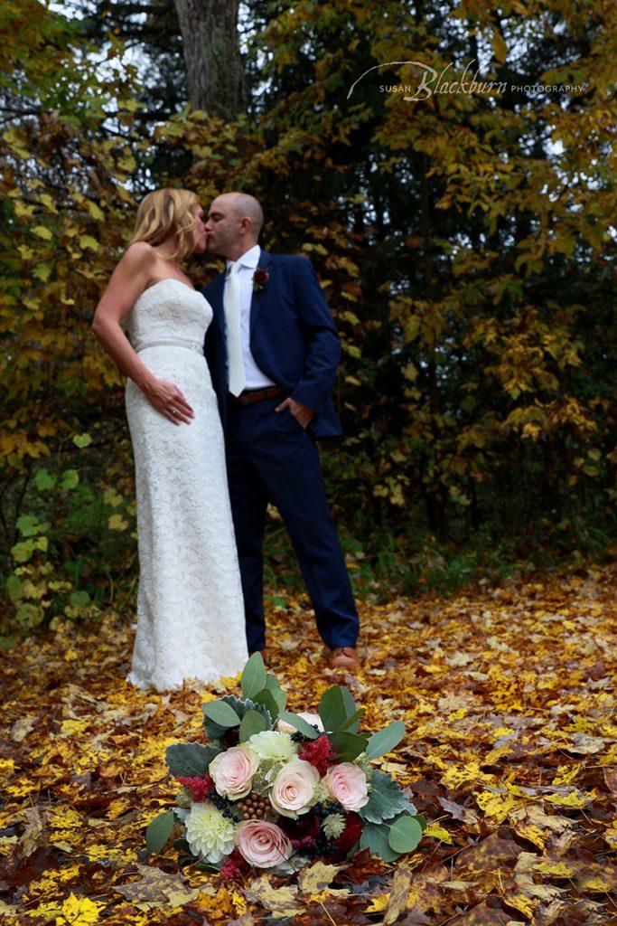Upstate NY Fall Foliage Wedding Photo