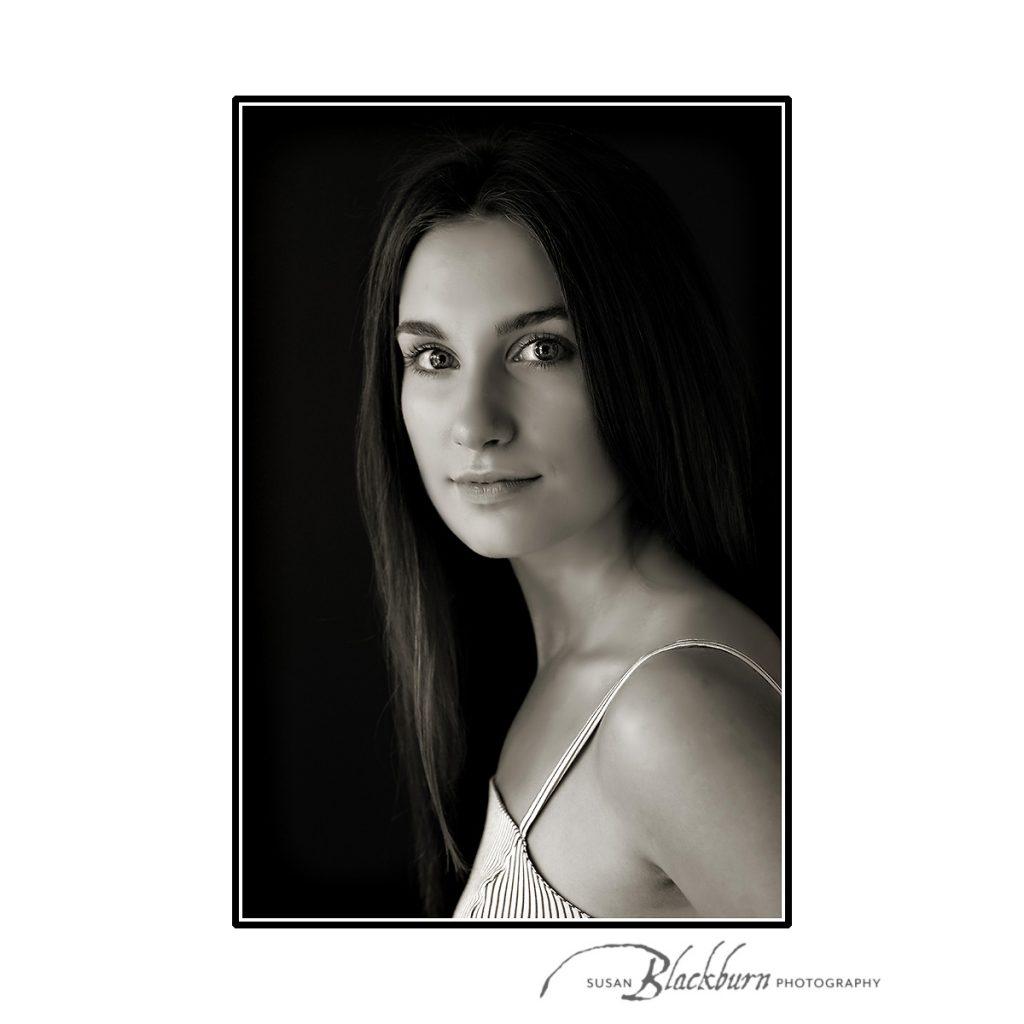 Black and White Senior Portrait Saratoga Springs NY