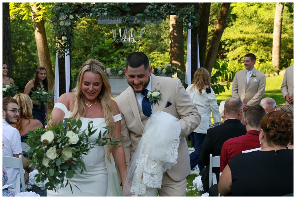 Wedding Recessional Photo of Bride and Groom