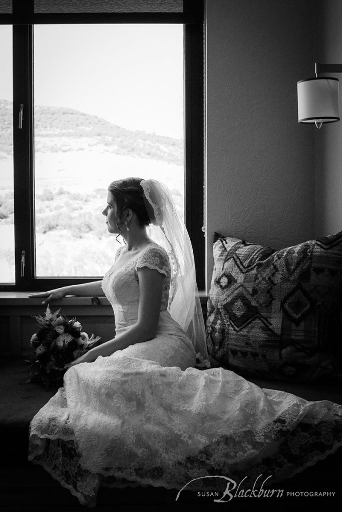 Black and White Bridal Portrait Utah