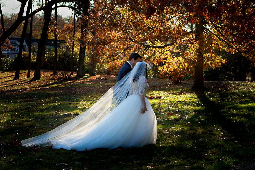 New England Fall Foliage Wedding Photo