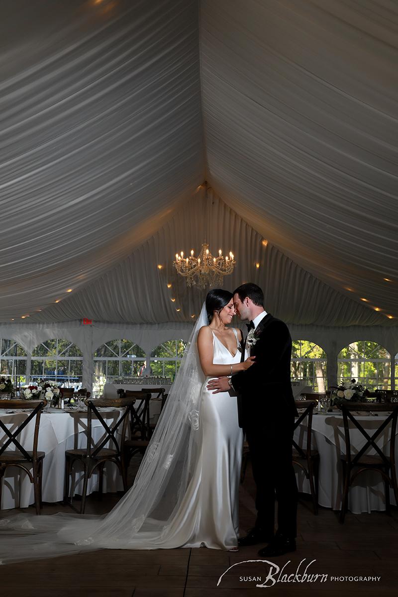 Saratoga Springs Racino Wedding Photo Bride and Groom in tent